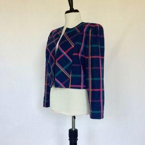 Vintage 80s bright plaid wool jacket
